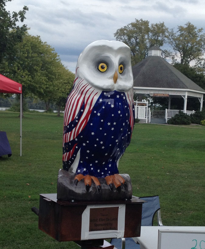 "The owl ""Freedom"" was created by artist Ellen DeLucia and has been making the rounds in Coxsackie. Artists and would-be artists are being sought to design an owl of their own, which will eventually be auctioned off. No artistic experience is needed."